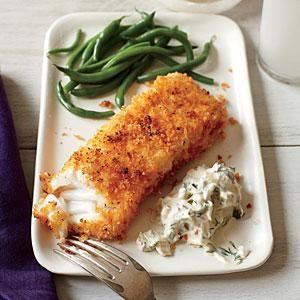 Food Presentation - Summer Food Ideas - Panko oven-fried Alaskan Cod or Halibut fillets w/ Lemon-Dill sauce.