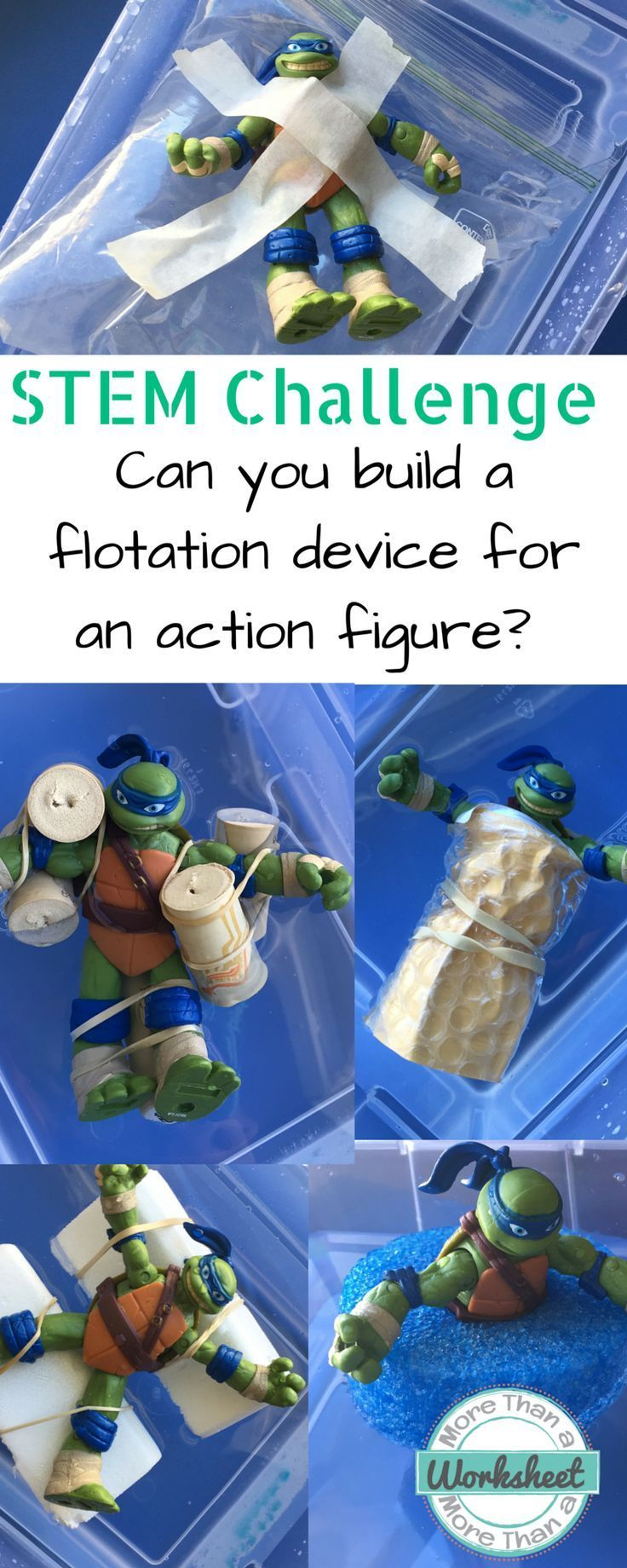 STEM Challenge: Can you build a flotation device for an action figure? from More Than a Worksheet. Guide your students through the entire STEM engineering process with a simple trifold. Teach about buoyancy and density while learning the design process. Reading passage and rubric included, too!