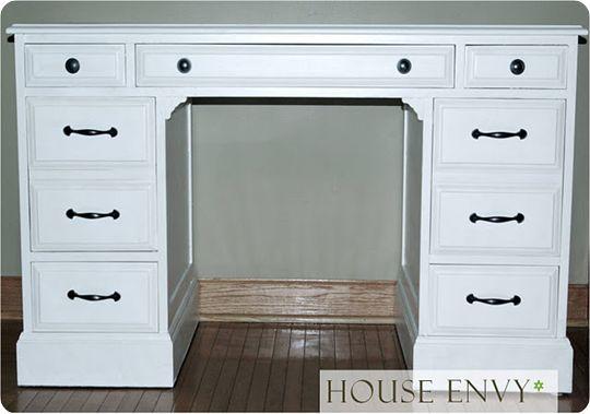 White painted desk: Sewing Room, Desk Makeover, Pottery Barn Inspired, Desk Redo, Painted Desks, White Desks, Inspired Desk, House Envy