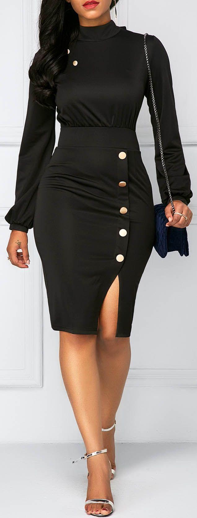 Long Sleeve Button Decor Sheath Dress.