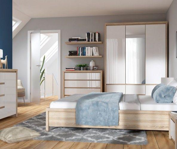 King Size Bedroom Furniture Set White Gloss Oak Kaspian Kaspian Kng Bed Set Dso Bi In 2020 Modern Bedroom Furniture Sets White Bedroom Set Bedroom Furniture Sets