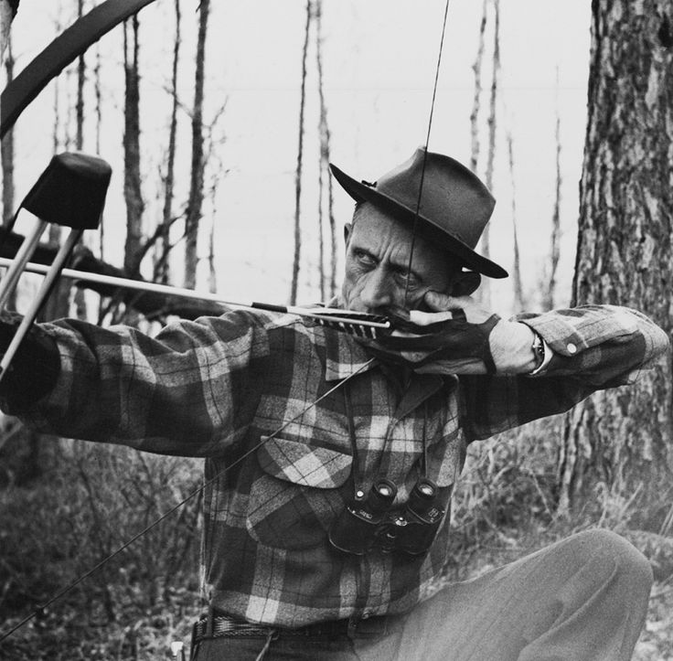 """""""Bow-hunting offers the greatest chance of success to the hunter who stays in one place and lets game come to him ... The blind serves as a hiding place from which to ambush approaching game and must be situated so as to blend with the background."""" — Fred Bear on ground blinds, The Archer's Bible, 1968."""