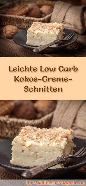 Rezept für leichte Low Carb Kokos-Creme-Schnitten - kohlenhydratarm, kalorienreduziert, ohne Zucker und Getreidemehl