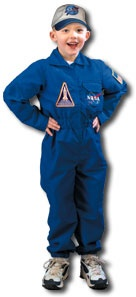 This top quality flight suit at our NASA store is the perfect astronaut costume! Size is 18 mo. Toddler. Features easy velcro buttons, wide elastic waistband and ankle bands, chest flap pocket, rear seat pocket and a NASA cap.