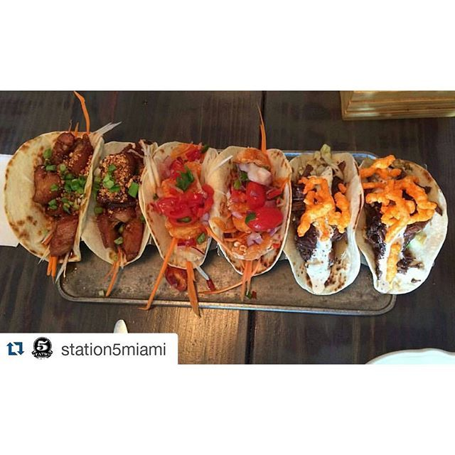 Food porn  #Repost @station5miami with @repostapp ・・・ Ain't no party like a taco party!  Pro tip: don't miss out on the Crispy General Tsao Pork Belly Tacos, Sriracha Shrimp Tacos, and the Braised Short Rib + Cheetos Tacos [pictured above, left to right]  credit: @lucy_lucyferrr #station5 #somi #southmiami #yum #foodporn #nom #yummy #goodeats #myfab5 #miami4lunch #tacos #tacoparty #tacotuesday