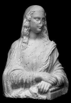 SOUVENIR GIOCONDA - Fabio Viale, white marble,78 x 59 x 45 cm, 2007