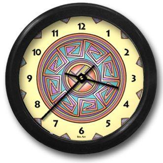 Sun in Mimbres Round Acrylic Wall Clock