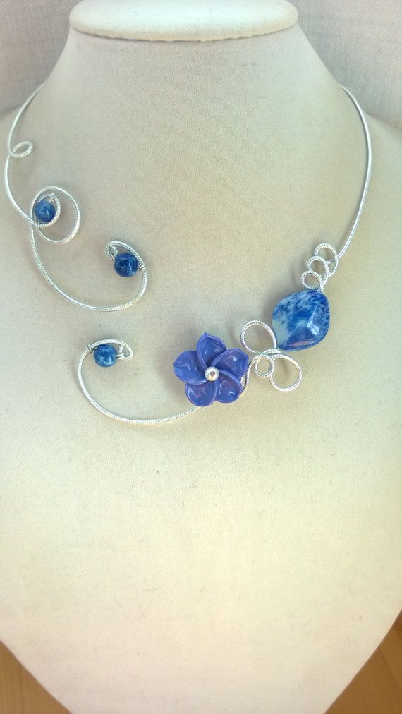 Blue necklace Blue jewelry Statement necklace  Blue