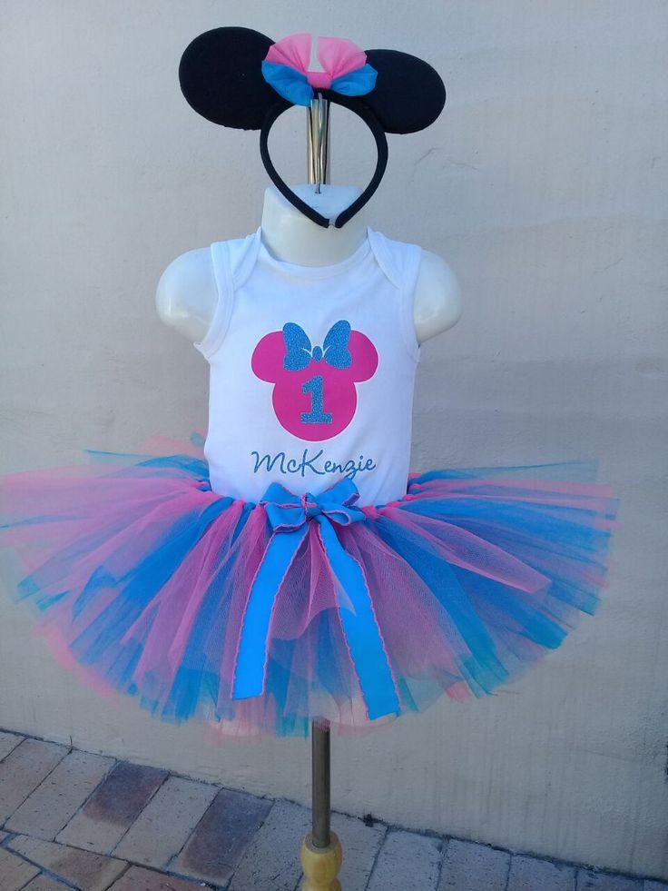 Personalised Blue glitter Minnie top and tutu