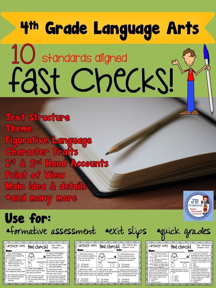 Perfect resource to quickly evaluate students understanding of Language Arts standards for progress/intervention needs!   Great 1/2 page format and detailed answer key included! https://www.teacherspayteachers.com/Product/4th-Grade-Language-Arts-Common-Core-Fast-Check-Assessment-Pack-3561710
