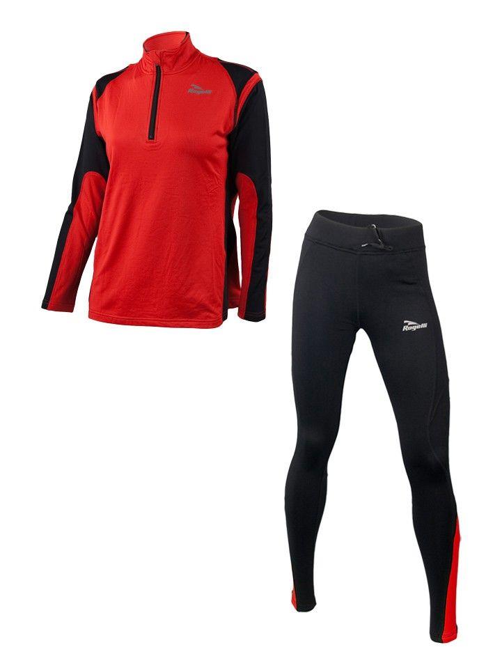 ROGELLI - damski wiosenno-jesienny zestaw do biegania ELKA + EMNA, kolor: Czerwony - MikeSport.pl