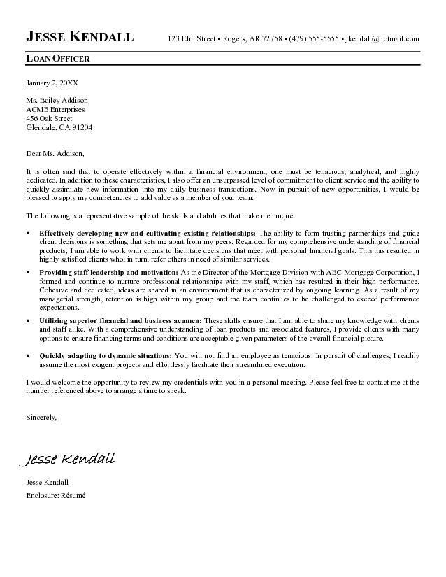 Loan Officer Cover Letter Sample  Loan Officer  Cover