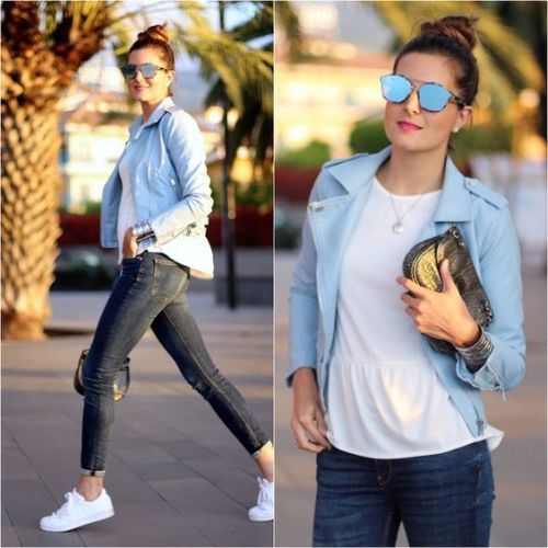sporty casual leather jacket- Neutral blush and nudes outfit ideas http://www.justtrendygirls.com/neutral-blush-and-nudes-outfit-ideas/