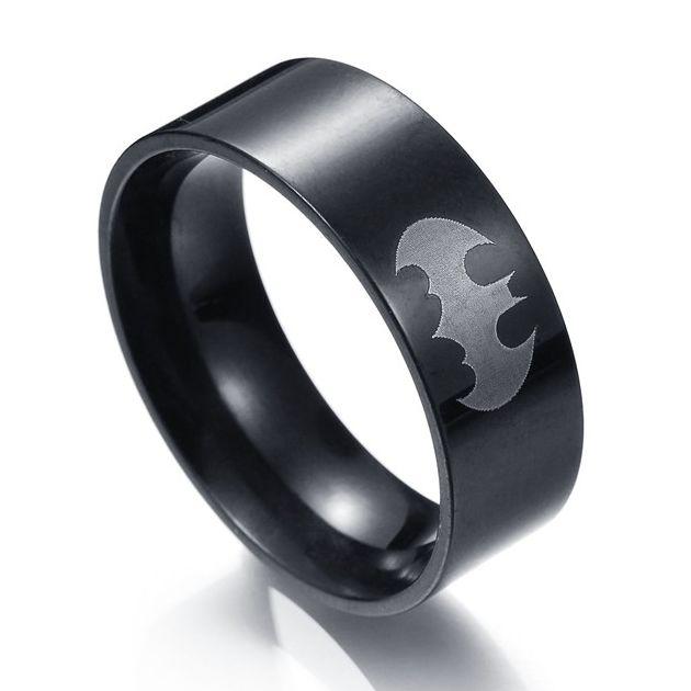 MMS Men's Black Batman Ring Jewelry wholesale Stainless Steel Superman Finger Ring Hot