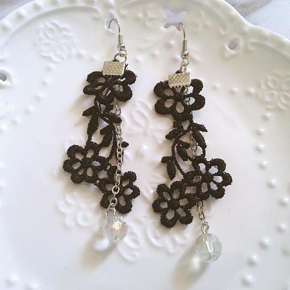 Handmade black flower lace earrings with glass beads  earrings