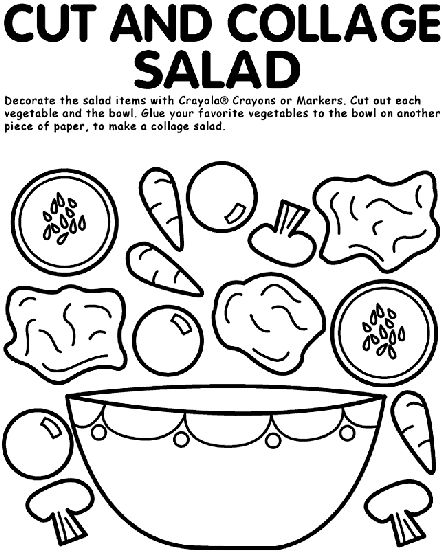 Cut and Collage Salad coloring page
