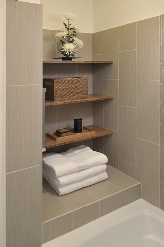 Vertically Laid 12x24 Tile Design Like The Shelves For