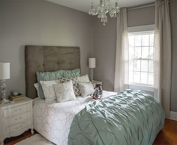 Loving everything about this room.  west elm bedroom gray grey calm cozy lia griffith pintuck duvet headboard tufted