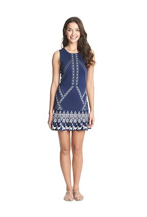 Michi's Boutique - $118.00 Tile Jacquard Flounce Stretch Knit Skirt Dress in Indigo Tile.  From CeCe Collection by Cynthia Steffe. (1)S, (1)M, (1)L