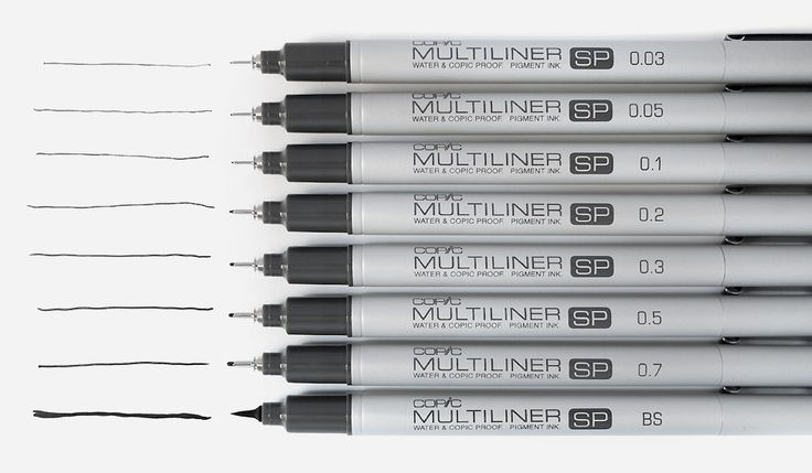 Copic Multiliner SP pens  • Pigment-based Ink  • Refillable  • Replaceable nibs  • 12 Colors plus black