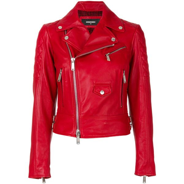 Dsquared2 biker jacket ($2,735) ❤ liked on Polyvore featuring outerwear, jackets, red, biker jackets, buckle jackets, red motorcycle jacket, moto jackets and red biker jacket