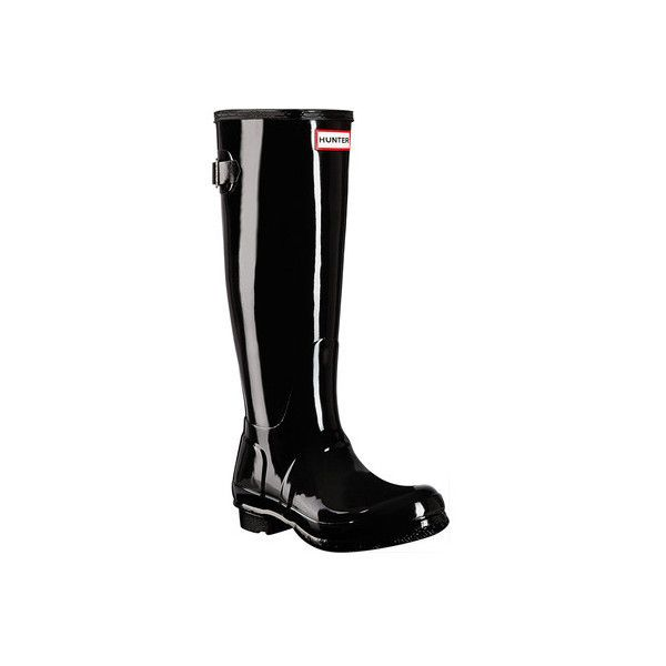 Women's Hunter Original Back Adjustable Gloss Rain Boot ($160) ❤ liked on Polyvore featuring shoes, boots, black, casual, waterproof boots, black boots, wellington boots, black waterproof boots, black rubber boots and rubber rain boots