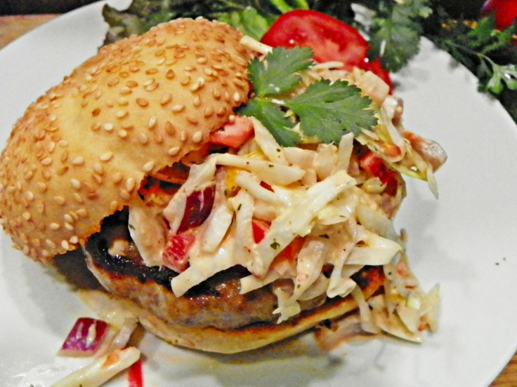 """""""Grilled Brat Burgers w/ Smokey Chipotle Lime Slaw"""" made with Johnsonville Bratwurst Patties by Laureen P."""