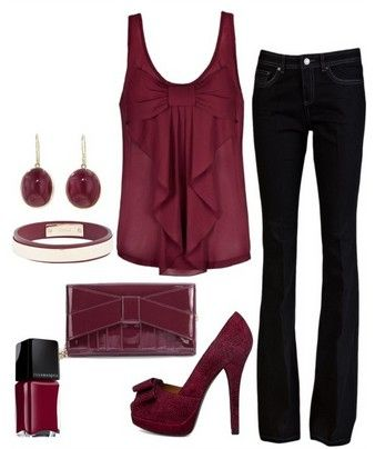 The Fabulous Dark Purple Outfit Look. Purple Top, Skinnies and Purple Pumps  Heels have to be shorter!