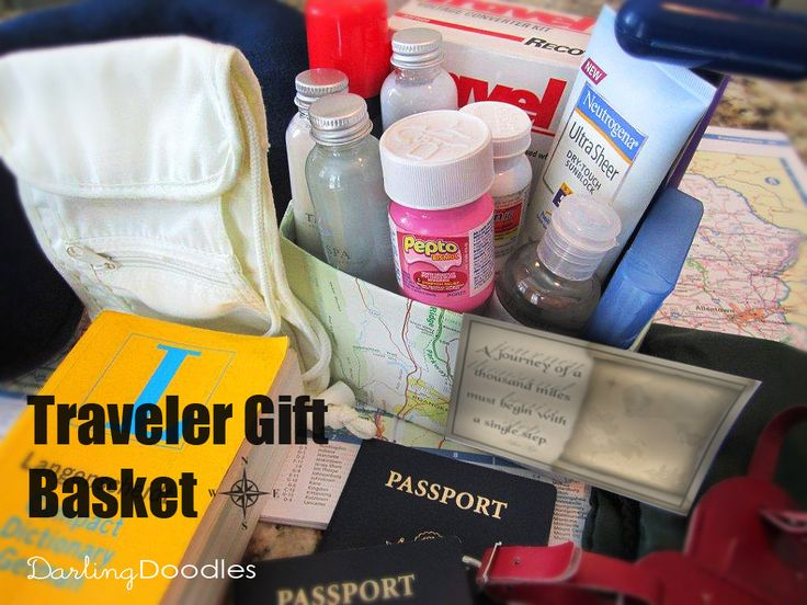 tems to put in this basket:    Any travel size toiletry item  Q-Tips  Motrin  Pepto  Hand Sanitizer  Security Pouch  Travel Pillow  Holders for toothbrush, razor, soap, etc.  Travel Outlet Converter  Language Dictionary  Luggage Tags  Map  Lightweight Backpack- This could also double as the gift basket