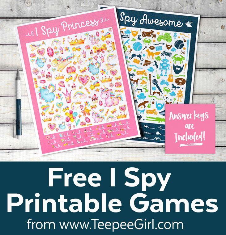 "Free printable ""I Spy"" games for kids"