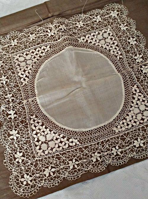 Silk Bobbin Lace Hand Made Handkerchief Victorian Hankie Wheat Pattern Unused