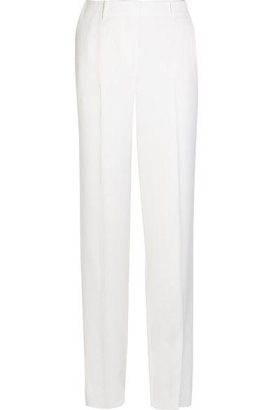 Givenchy - Wide-leg Tuxedo Pants In White Satin-crepe - FR36