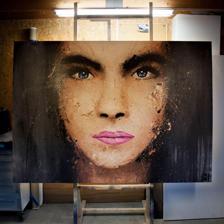 Cara Delevingne  Art, Portrait, Contemporary Artist: Halseth