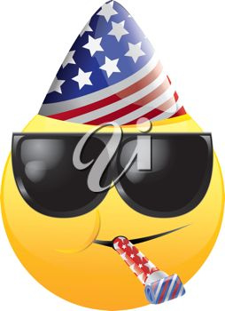 iCLIPART - Royalty Free Clipart Image of a Celebrating American Happy Face in Sunglasses