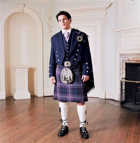 The groomsmen will be wearing kilts, without the sash over the shoulder and probably a different tartan.