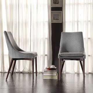 Shop for Sasha Mid-century Grey Fabric Upholstered Tapered Leg Dining Chairs (Set of 2) iNSPIRE Q Modern and more for everyday discount prices at Overstock.com - Your Online Furniture Store!