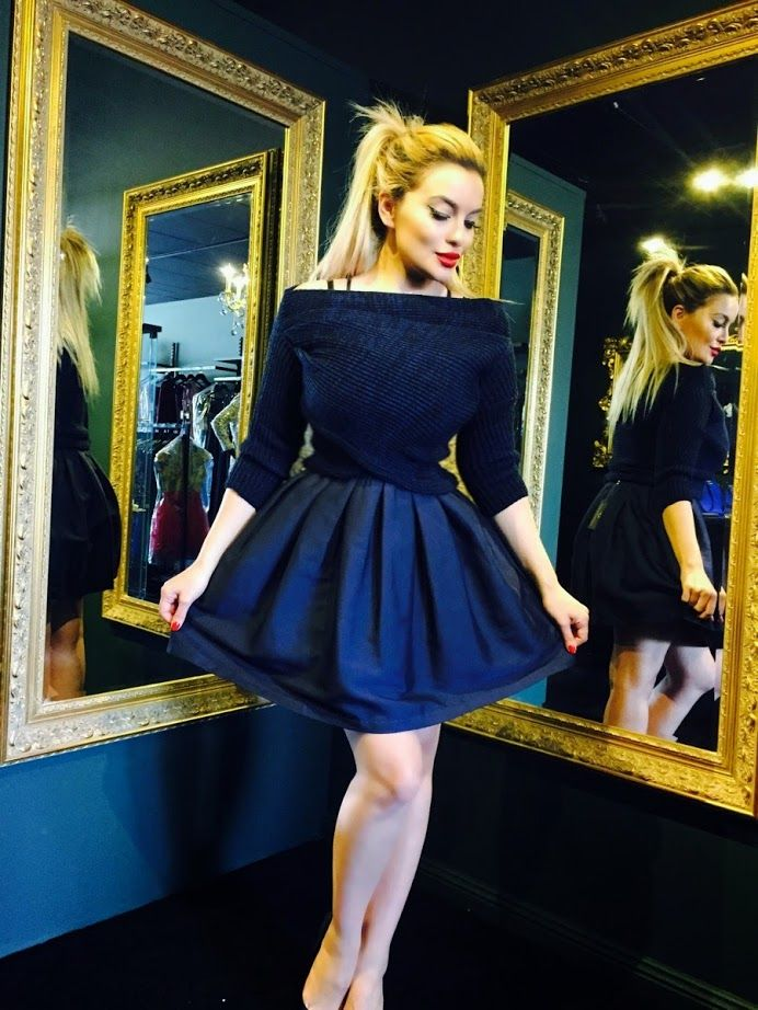 Cute Navy Dress from the Lena Kasparian Party Collection matched with  the navy knitwear #lenkasparian #navy #party #collection