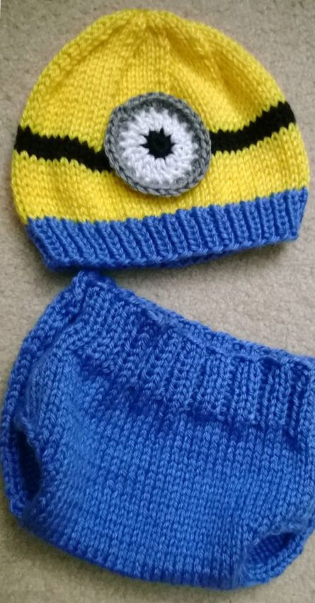 Knitting Pattern for Minion Baby Hat and Diaper Cover Set - For the hat, infant and toddler sizes are available. Sizes available for the diaper cover are 3, 6, 9 and 12 months. Options also available for you to make a one-eyed or two-eyed minion.