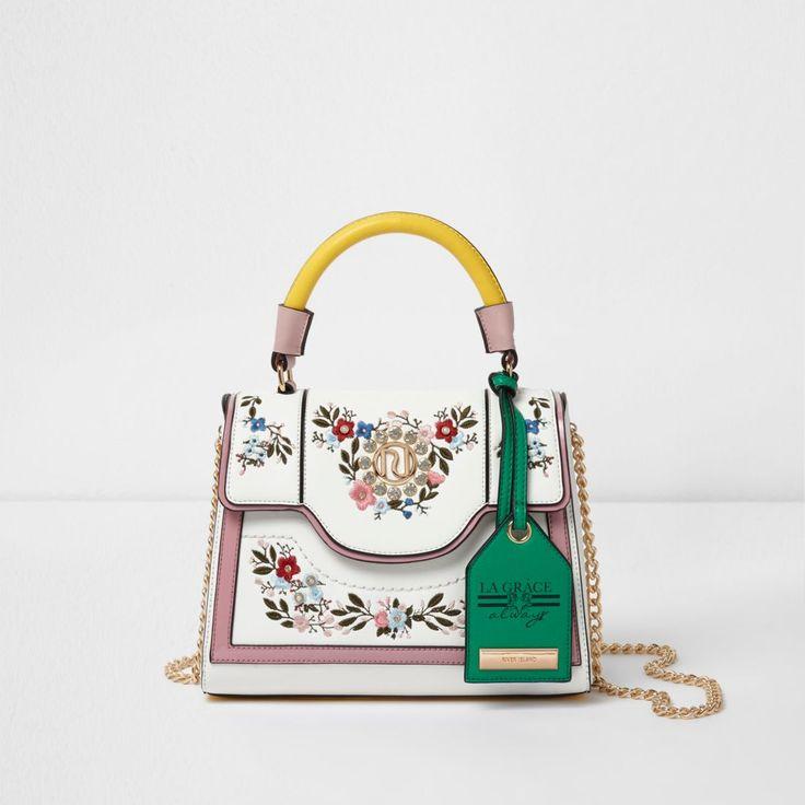 Белый цветочный вышитые цепи сумка