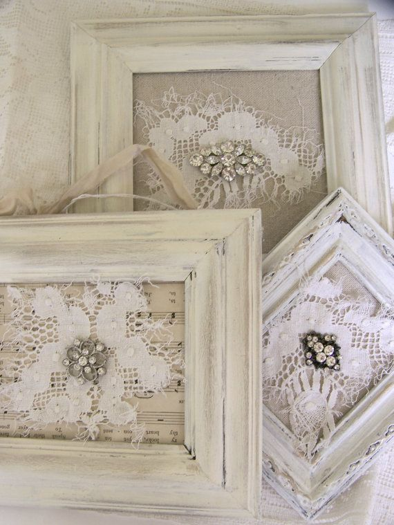 Shabby White Decor Altered Lace Art Vintage Framed Rhinestones by QueenBe