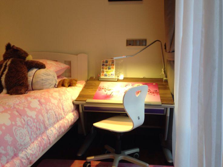 Children Desk: Moll Runner Compact in Walnut Chair: Moll Woody S