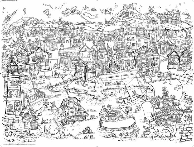 Seaside free colouring pages Giant coloring books for adults