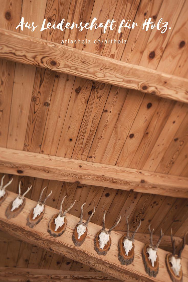 Balken und Dachschalung aus Altholz Fichte/Tanne leicht gebürstet