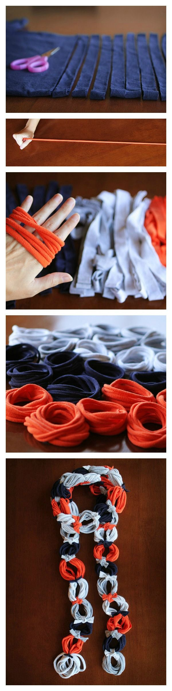 Easy DIY t-shirt scarf. So easy, all you need are t-shirts and a pair of scissors. No sew!