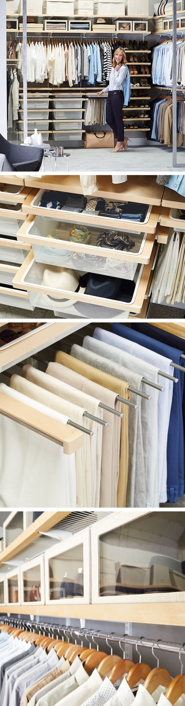 Anything and everything - designed with elfa, organized by you. ... #Design #Closets #Wardrobes