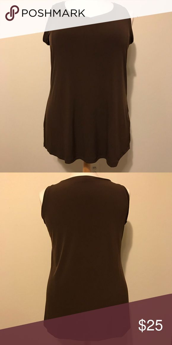 """EUC Susan Graver brown shell size 1X This top is in excellent condition. It's made of a stretchy material composed of 95% polyester and 5% spandex so it's machine washable. It is a simple cut with a 3.5"""" slit on both sides of the bottom hem. The rich chocolate brown color is very versatile and will match with most closet standards. Approximate measurements are bust 46"""", waist 46"""", bottom hem 54"""" and total length 29.5"""". Susan Graver Tops Camisoles"""