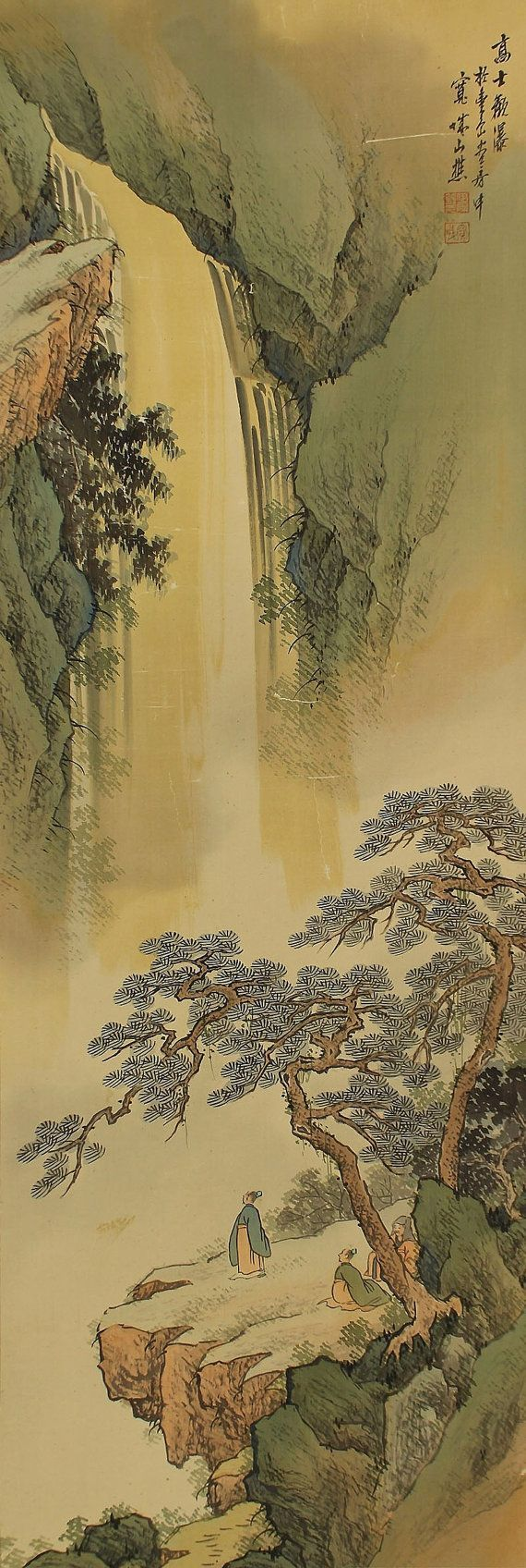 Landscape. Scholars Enjoying Waterfall. Japanese hanging scroll, Kakejiku.