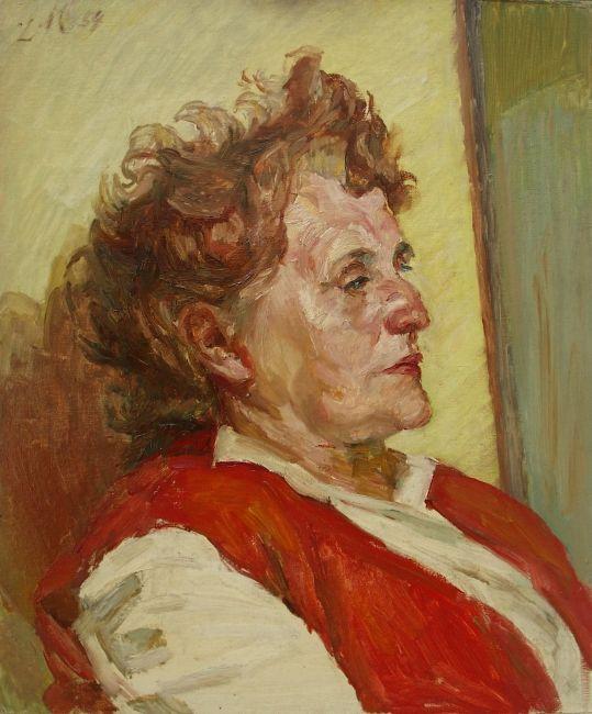 Ludwig Meidner, Frauenporträt, 1954, Öl auf Malkarton, Ludwig Meidner-Archiv, Jüdisches Museum Frankfurt