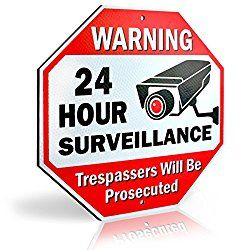 Diamond ULTRA REFLECTIVE Warning 24 Hour Surveillance No Trespassing Metal Sign   with for home business Video Security CCTV Camera   12″L x 12″H Aluminum (12″x12″ Reflective