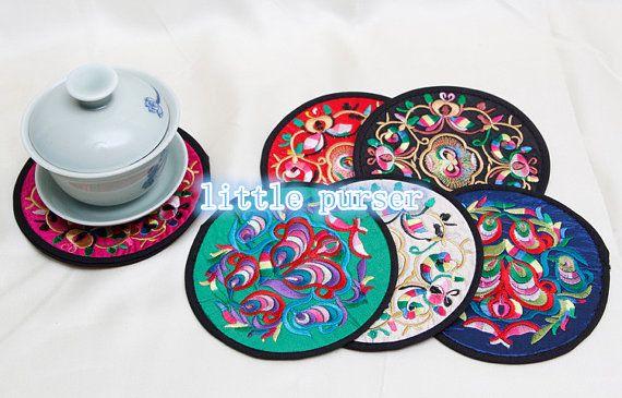 Cup mat/embroidery cup mat cup mat/embroidered by littlePurser